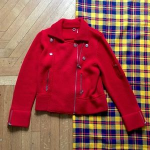 Anthro One Girl Who Red Knit Moto Sweater Jacket